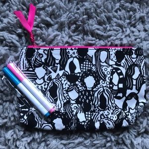 ipsy Bags - ipsy bag, black and white with pens to color